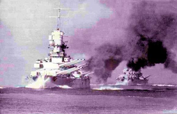 Le corazzata Vittorio Veneto e Littorio alle prvode di tiro